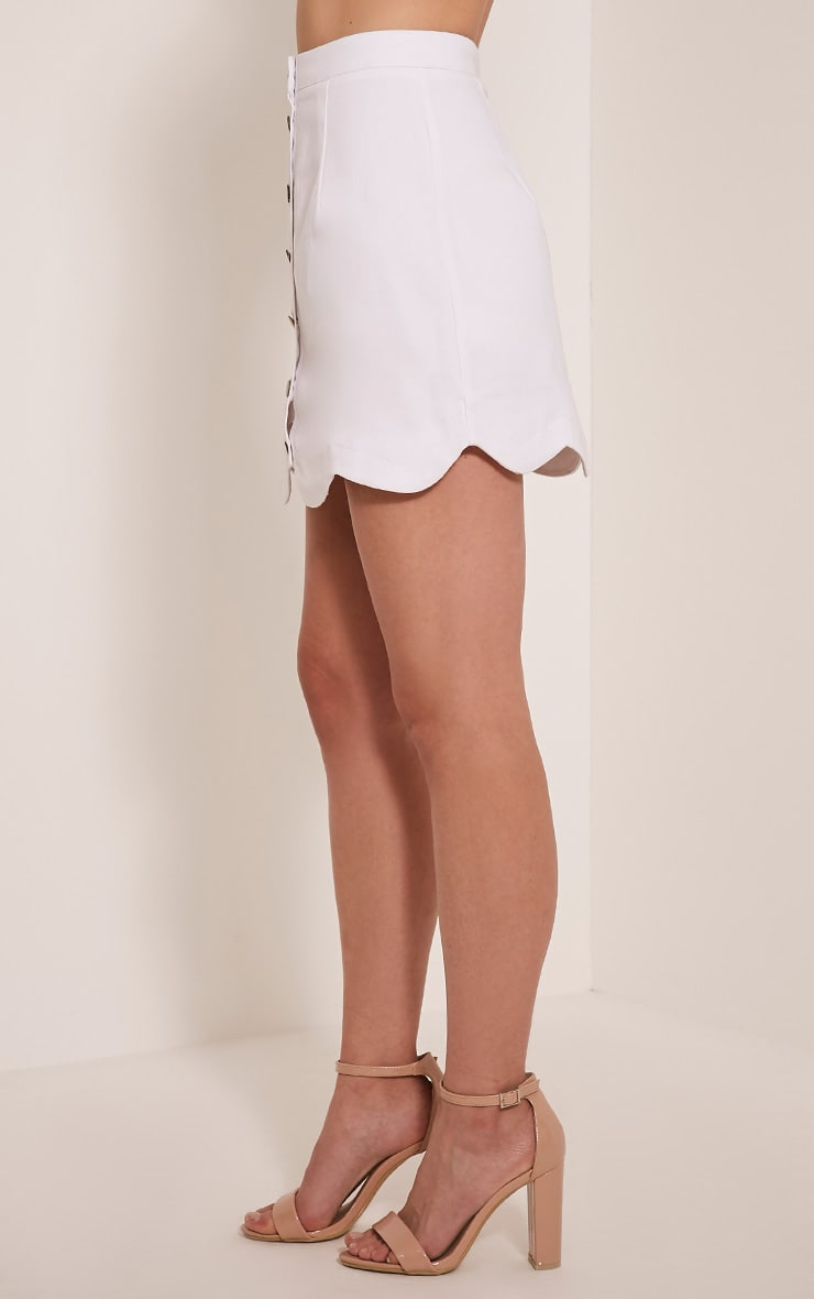 Leigha White Scallop Hem Denim Mini Skirt 4