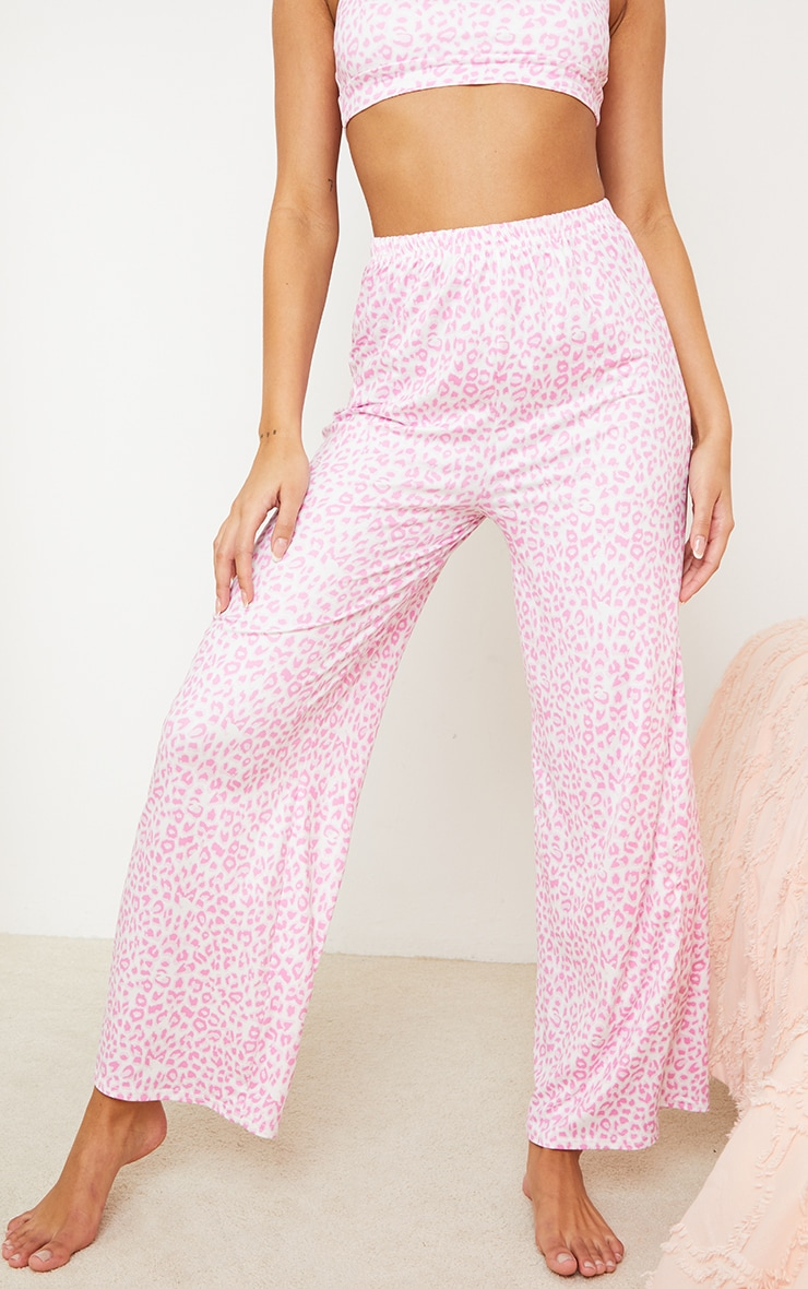 Pink Leopard Print Mix And Match Wide Leg Jersey PJ Trousers 2