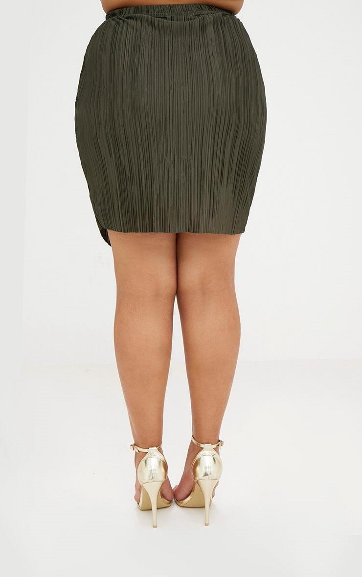 Plus Emerald Green Pleated Wrap Mini Skirt 3