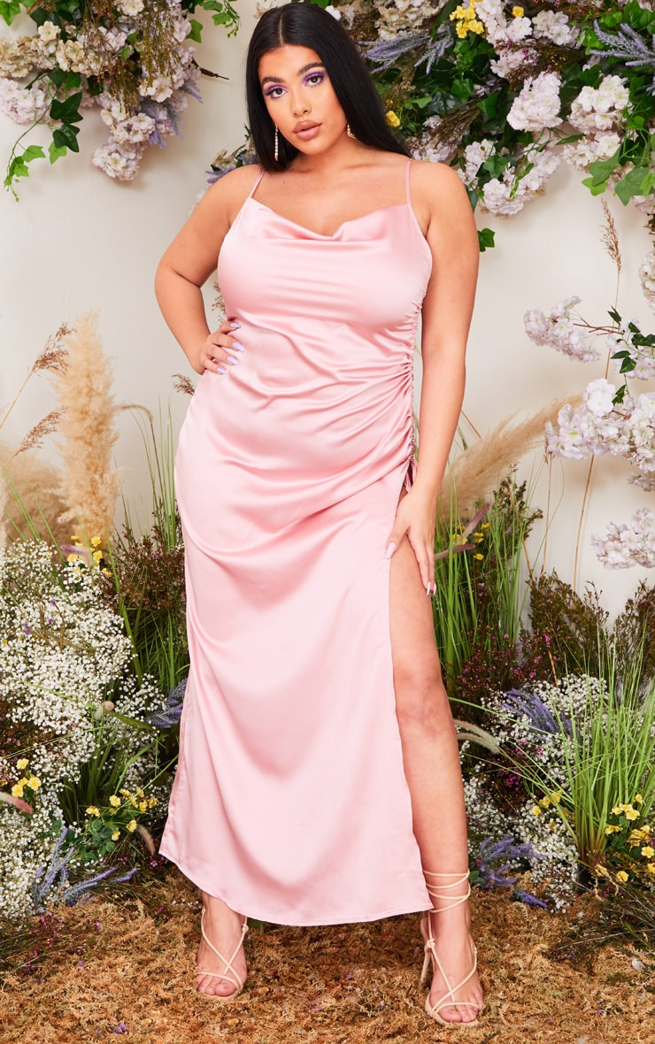 Plus Dusty Pink Satin Cowl Ruched Side Maxi Dress 1
