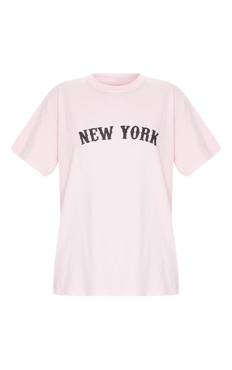 Baby Pink New York Printed T Shirt 5