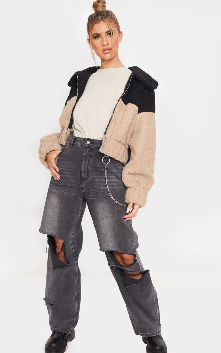 Black Borg Contrast Panel Zip Through Jacket 4