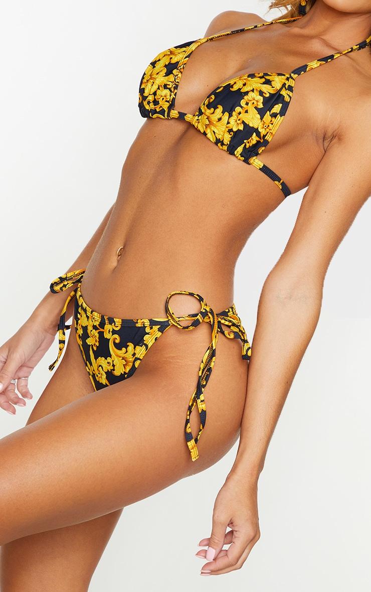 Black Chain Print Tie Side Bikini Bottom 4