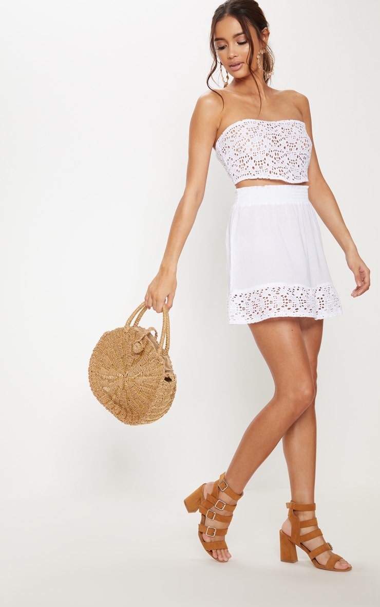 White Broderie Frill Hem Mini Skirt 1