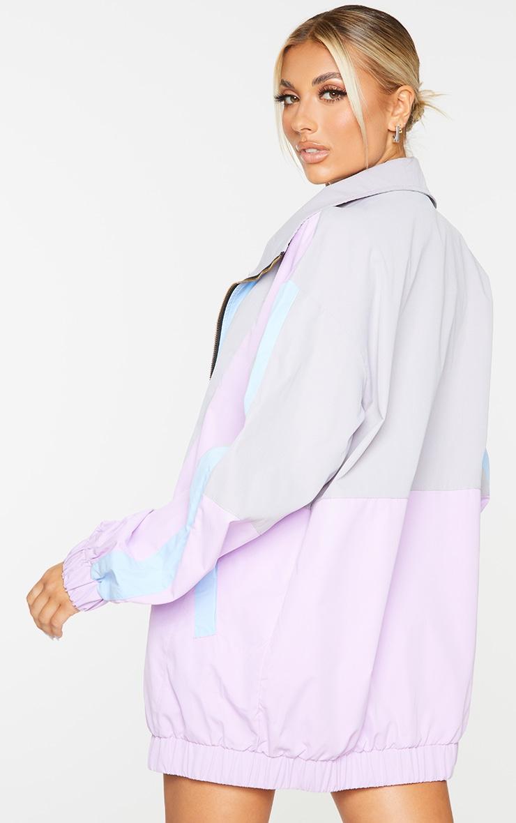 Lilac Colourblock Longline Elastic Hem Tracksuit Jacket 2