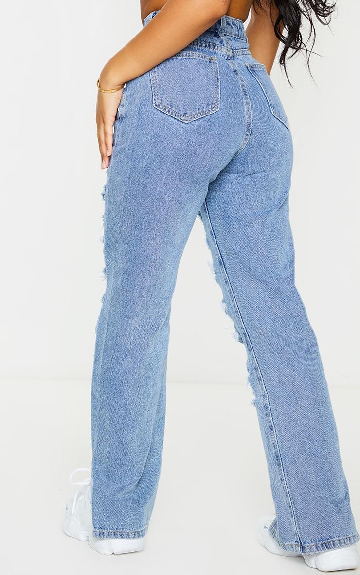 PRETTYLITTLETHING Petite Mid Blue Dip Waist Full Distress Split Hem Denim Jeans 3