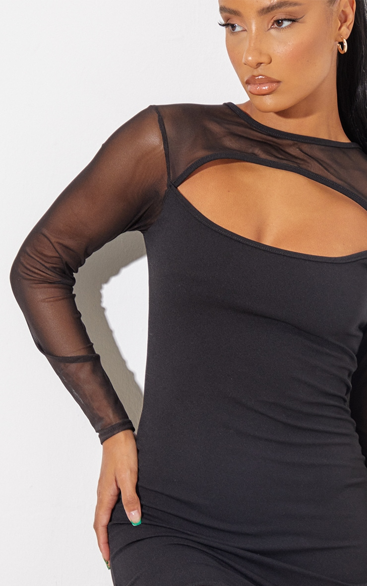 Black Mesh Bodice Cut Out Long Sleeve Bodycon Dress 5
