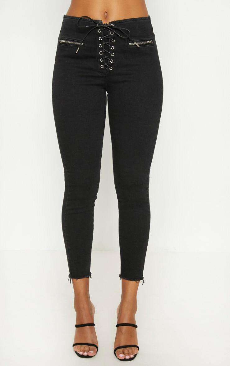 Black Lace Up Denim Skinny Jean 6
