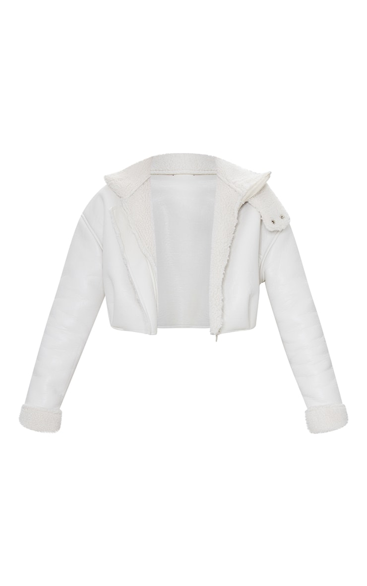 Cream Faux Leather Borg Lined Super Cropped Aviator Jacket 5