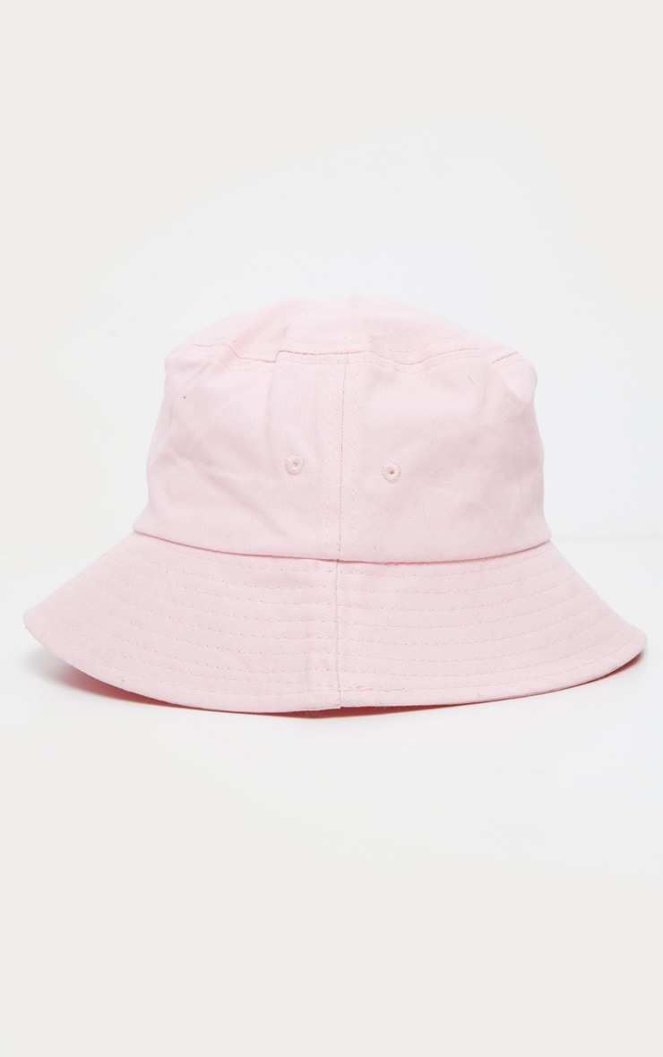 Pink Plain Bucket Hat 2