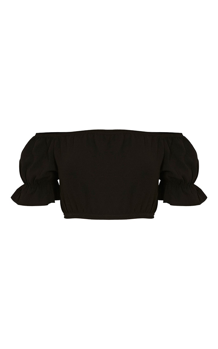 Farren Black Bardot Crop Top 3