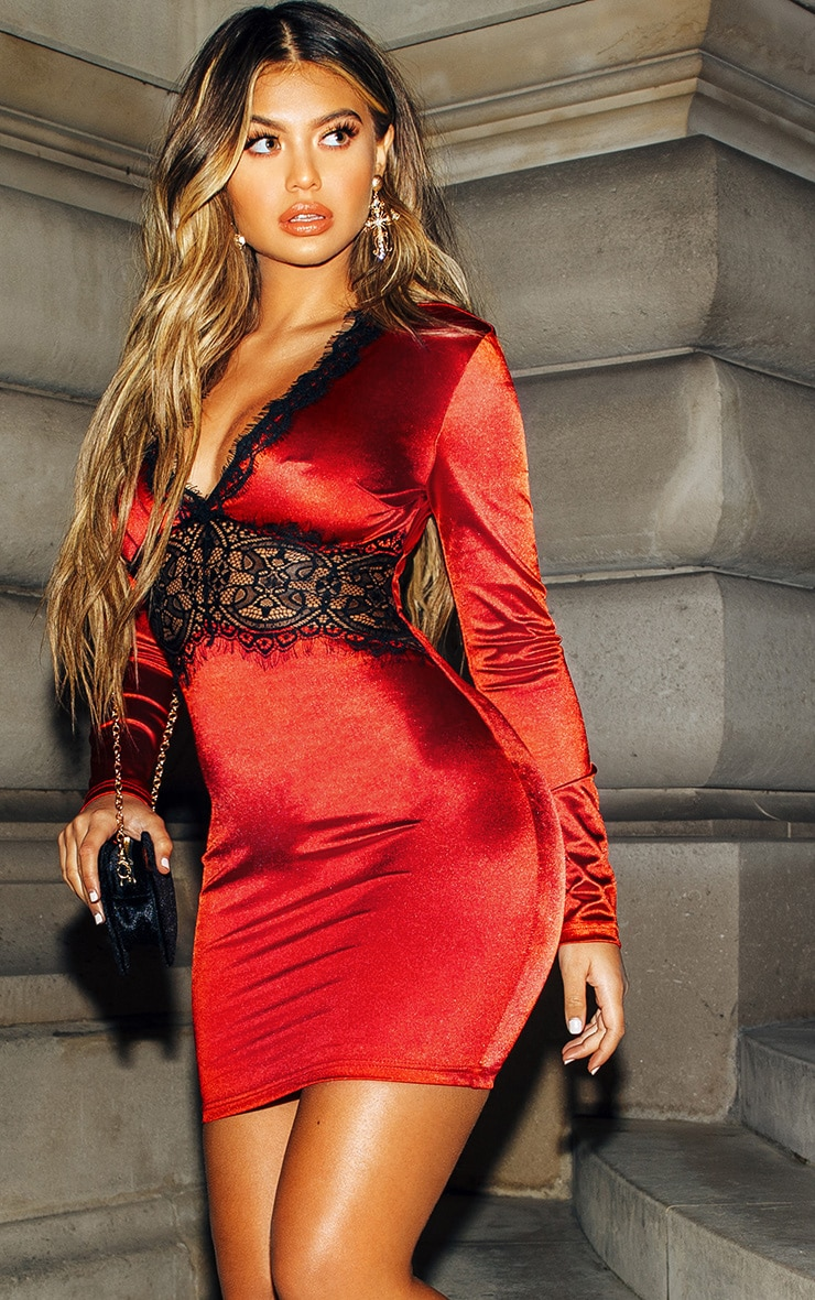 Red Satin Lace Panel Bodycon Dress 1