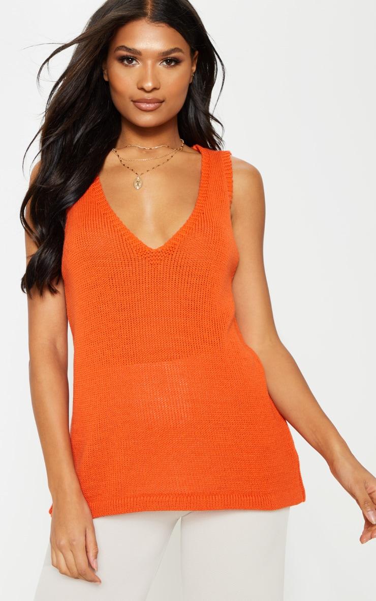 Orange V Neck Sleeveless Knit  4