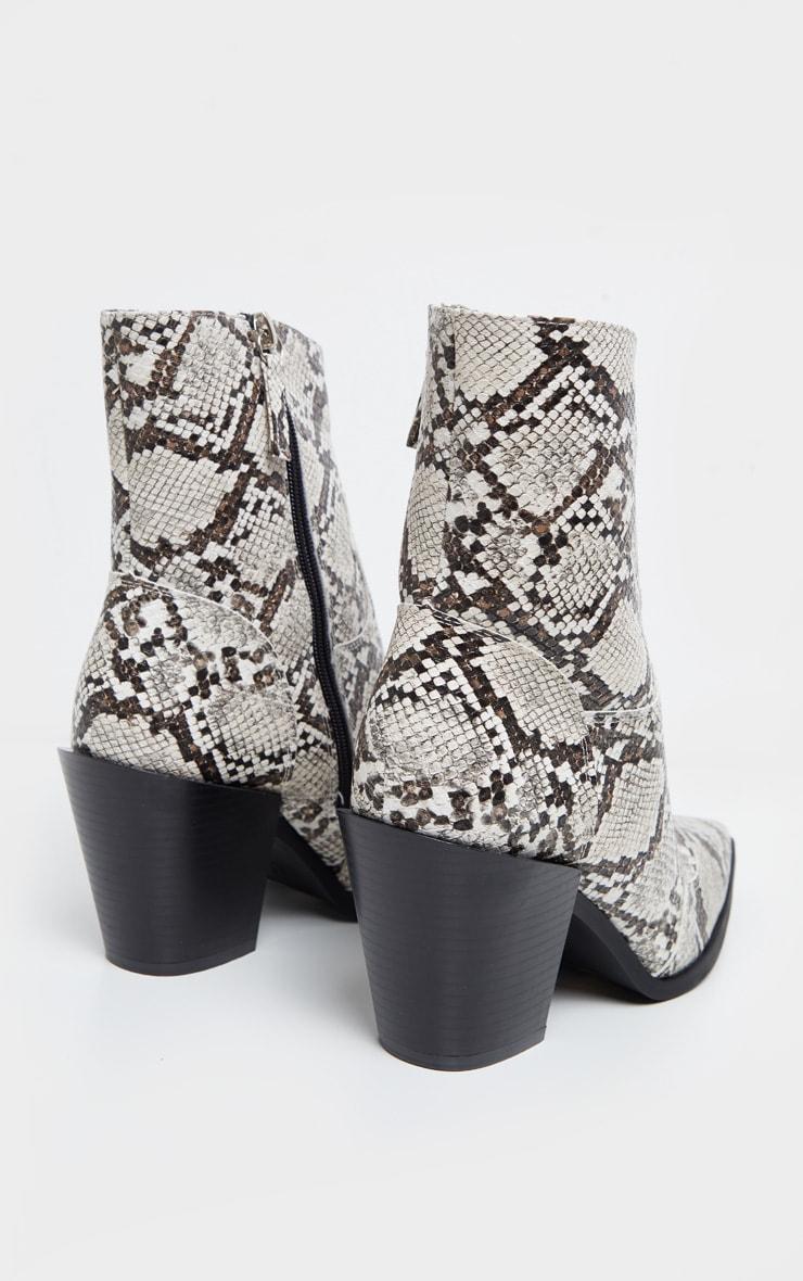 Beige Snake Point Toe Western Heel Ankle Boot 4