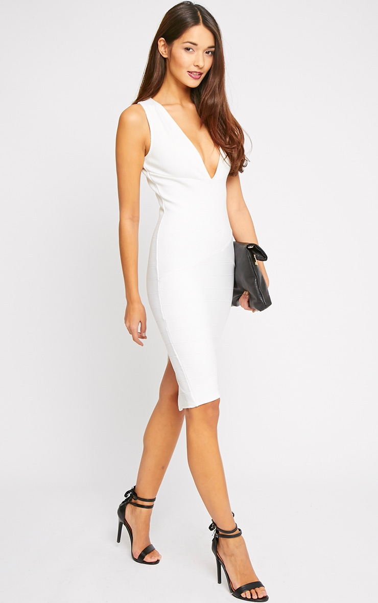 Frankie Cream Deep V Bandage Midi Dress 5