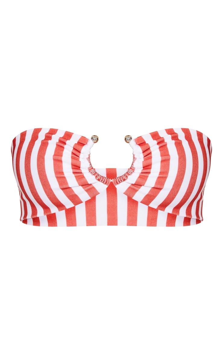 Petite Red Striped Ring Detail Bikini Top 3