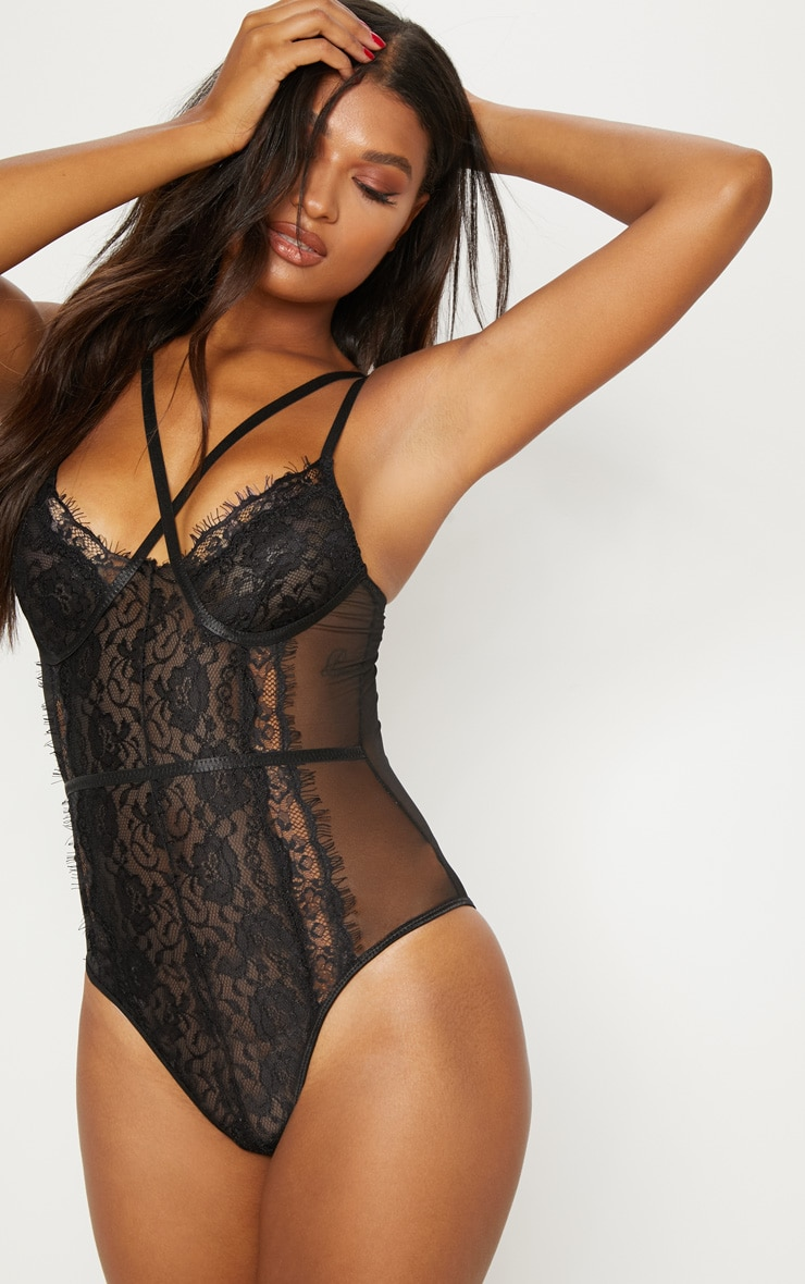 Black Cross Front Mixed Lace Body