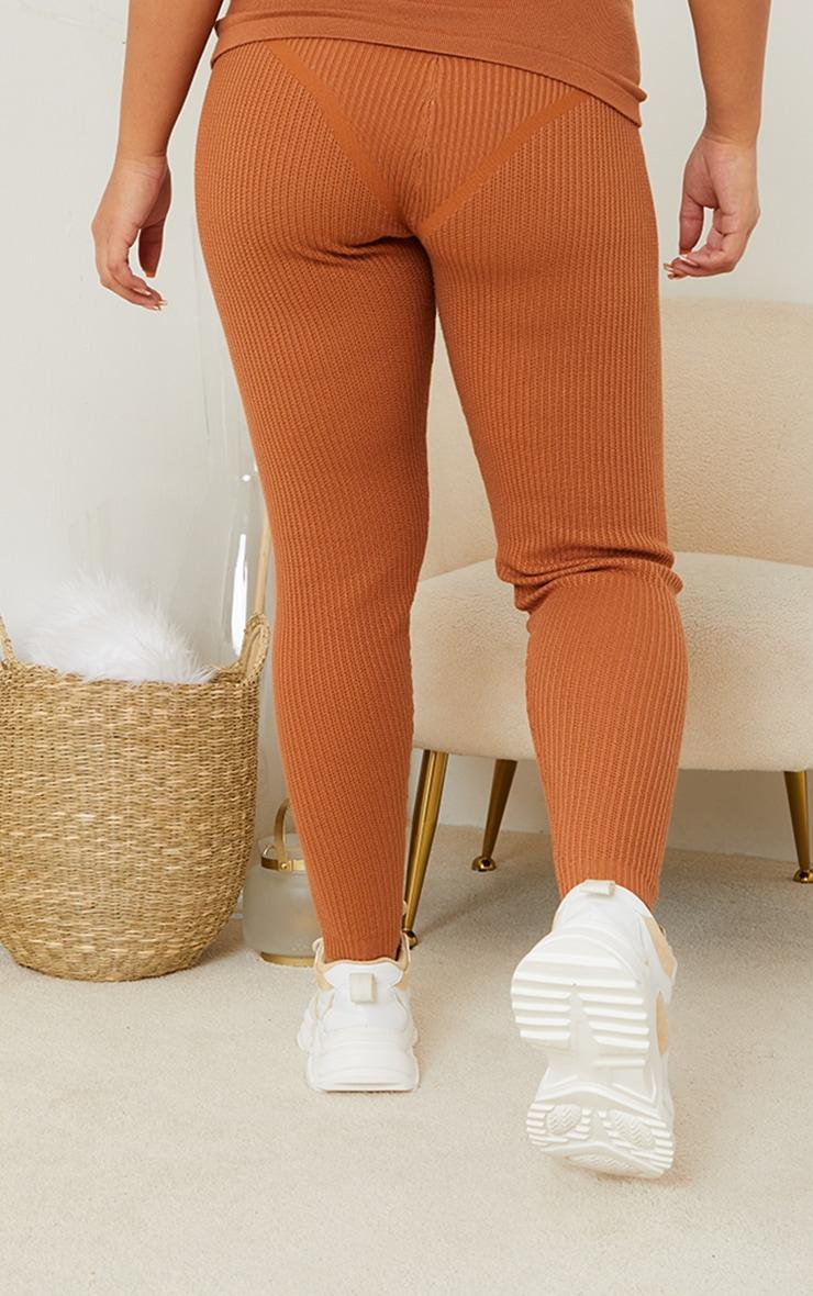 Maternity Tan Bump Shaping Knitted Wide Rib Leggings 3