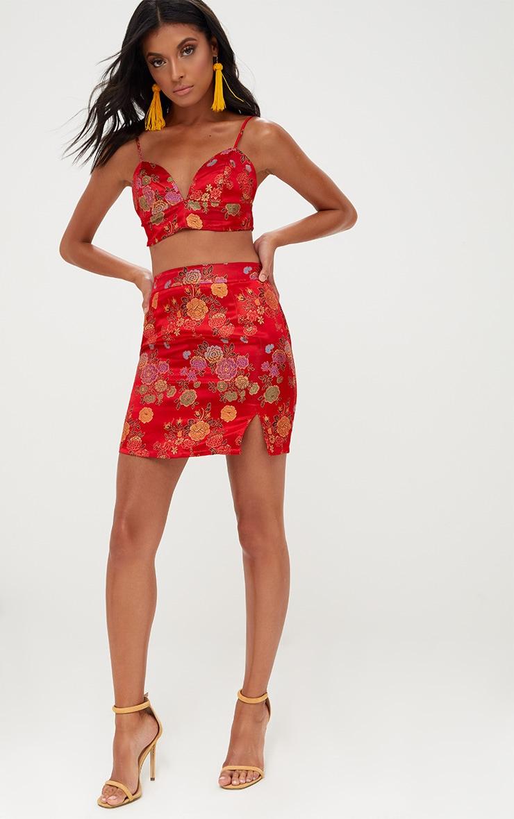 Red Oriental Jacquard Split Mini Skirt 5