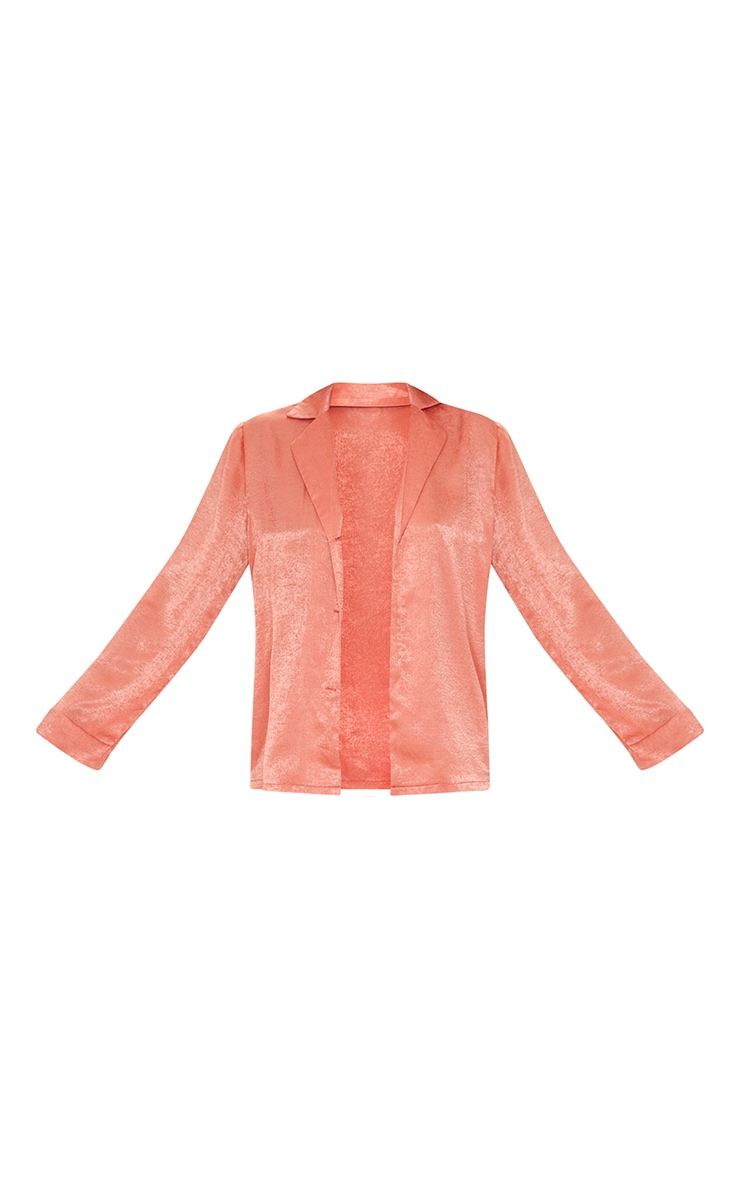 Tall Coral Hammered Satin Oversized Shirt 5