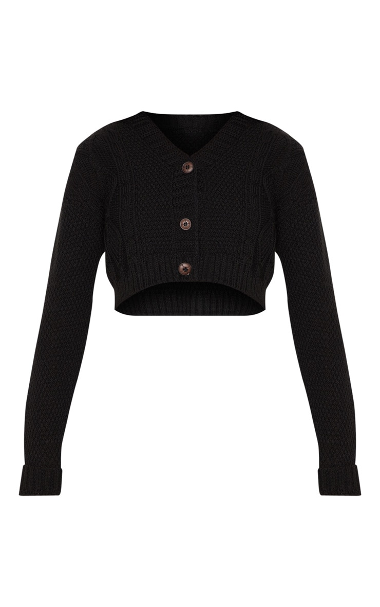 Black Cable Cropped Cardigan 3