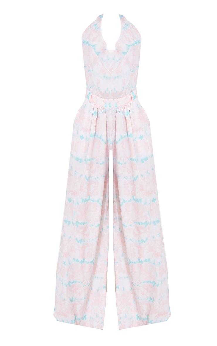 Pink Tie Dye Cowl Halterneck Wide Leg Jumpsuit 5