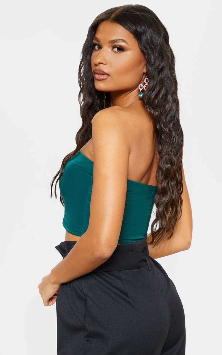 Helsa Dark Green Slinky Bandeau Crop Top 2