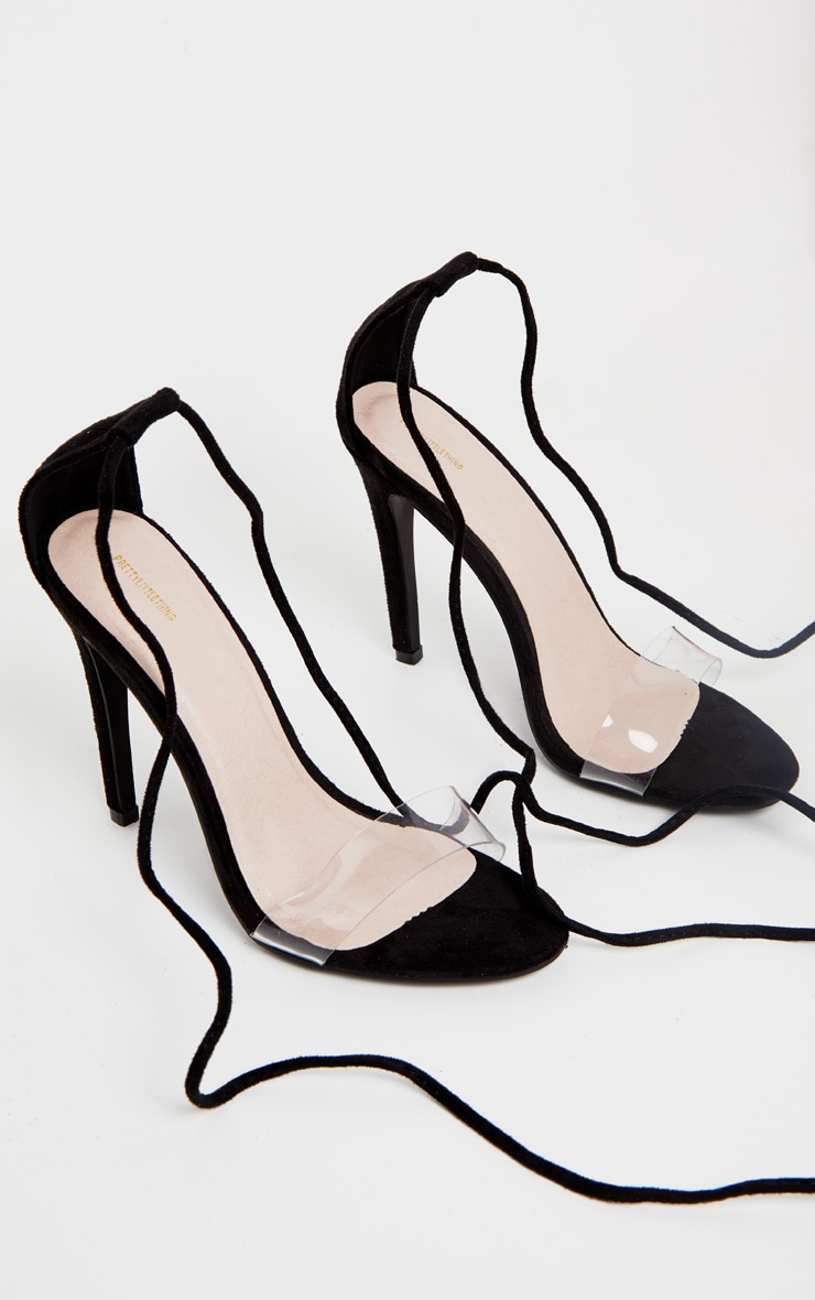 Black Clear Strap Ankle Tie Heels 3