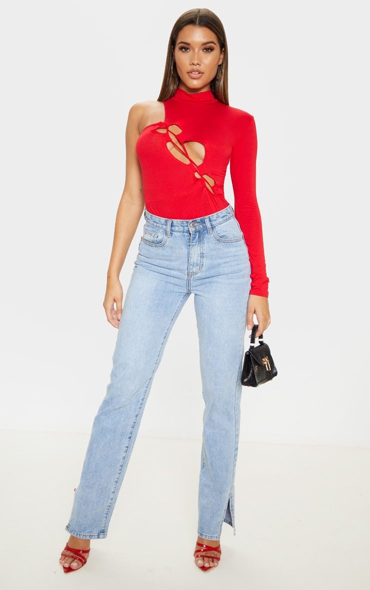 Red Jersey One Shoulder Asymmetric Lace Up Bodysuit 5