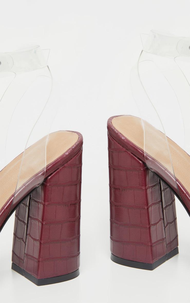 Burgundy Croc Clear Strap Block Heel Point Toe Sandal 4