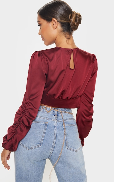 Burgundy Satin Ruched Long Sleeve Spilt Front Crop Blouse