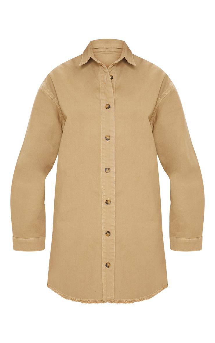 Stone Longline Button Through Denim Shirt Dress 3