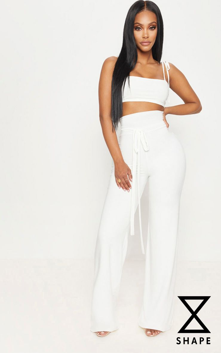 Shape White Slinky Extreme High Waist Detail Wide Leg Pants 1