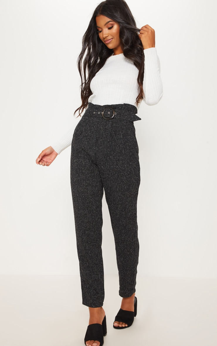 Black Belted Tweed Cigarette Pants 1