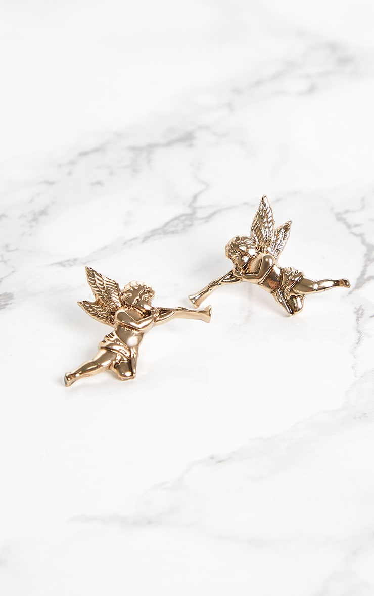 Gold Cherub Stud Earrings 3