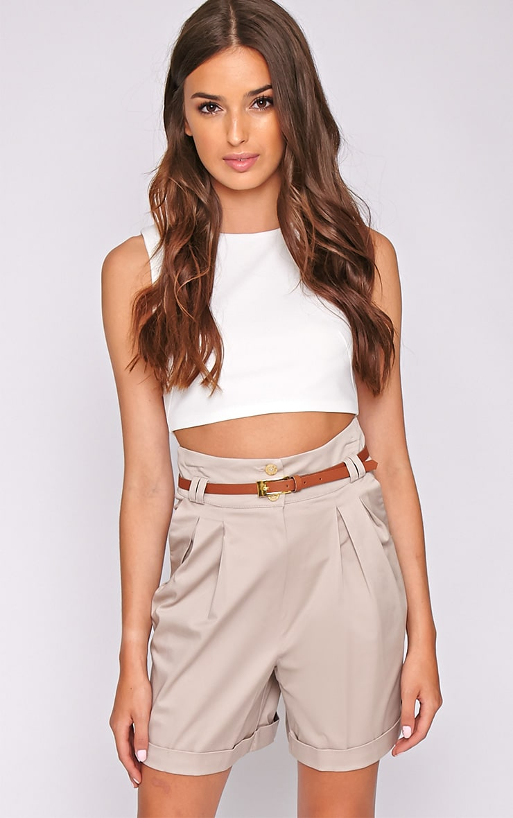 Sally Beige Tailored Shorts 1