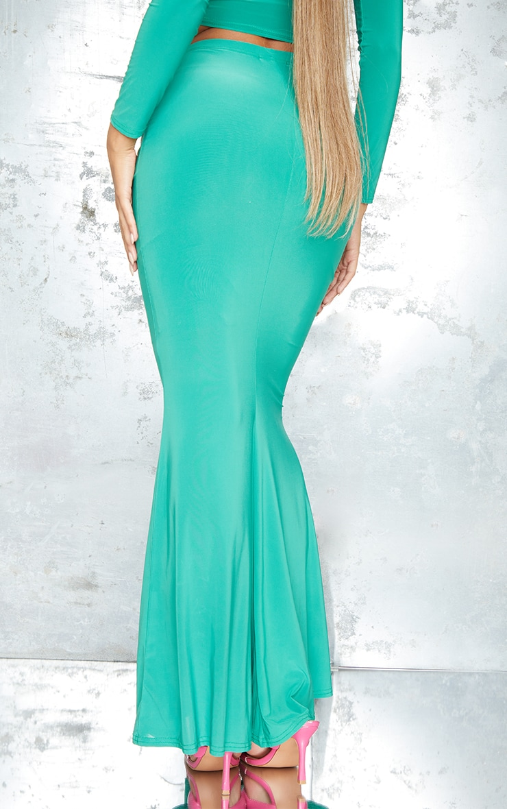 Bright Green Slinky Ruched FrontMaxi Skirt 3