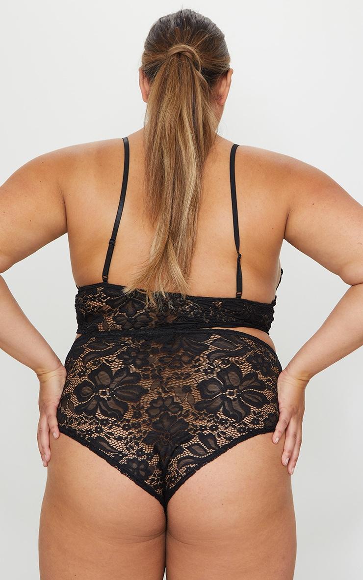 Plus Black Lace High Waist Panties 3