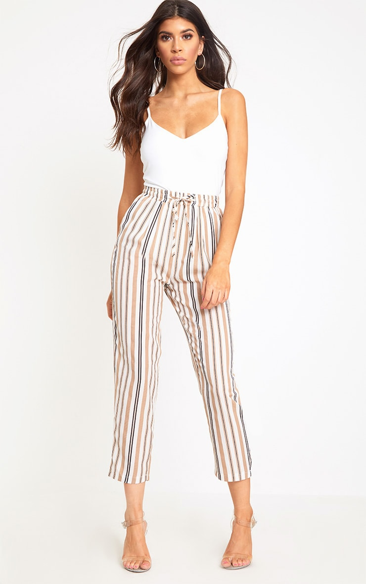 Stone Stripe Casual Trousers 1