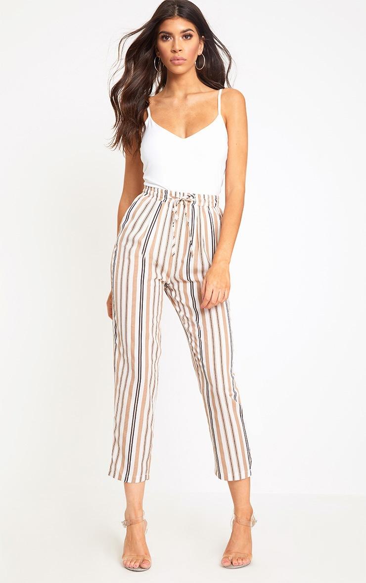 Stone Stripe Casual Trousers 1
