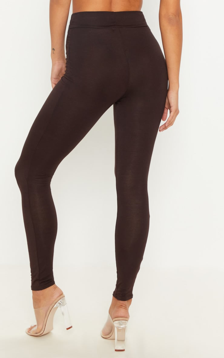 Basic Chocolate High Waisted Jersey Leggings 4