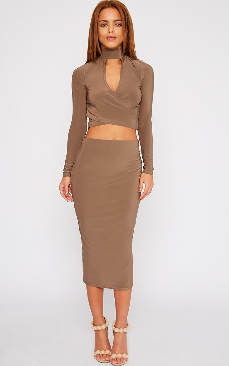 Siobhan Mocha Slinky High Neck Open Front Crop Top 3