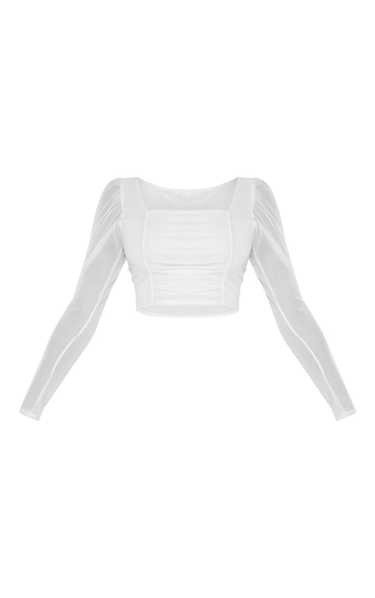 Tall White Square Neck Mesh Ruched Long Sleeve Crop Top 3