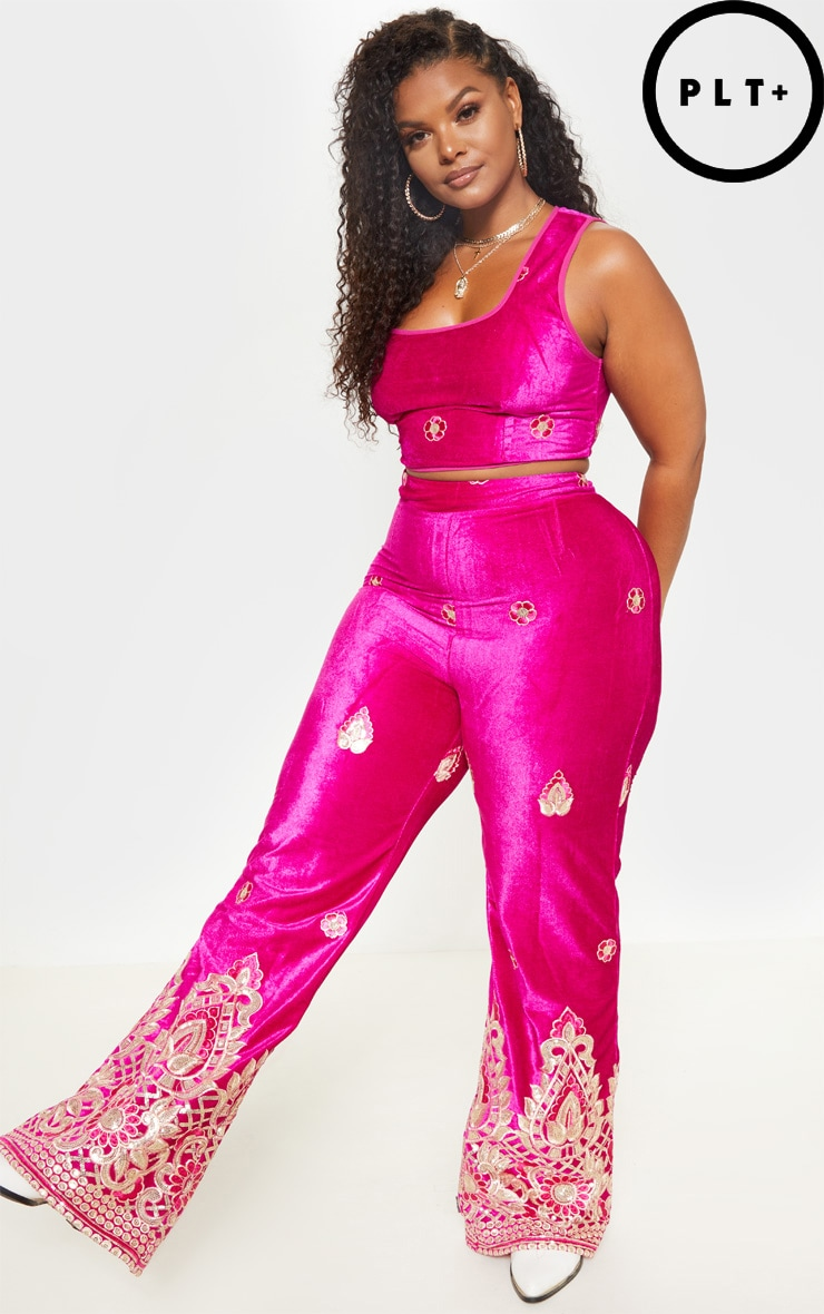 Plus Fuchsia Velvet Paisley Embroidered Flare Pants 2