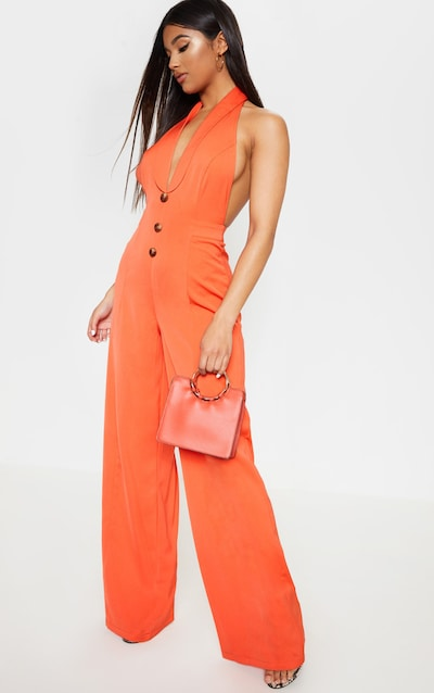 16bec4bc4f82a Bright Orange Halterneck Lapel Detail Jumpsuit