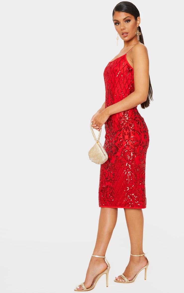Red Strappy Sequin Detail Split Back Midi Dress 4