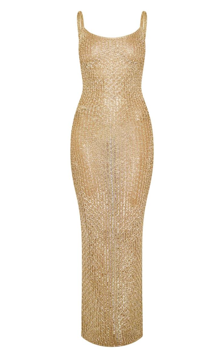 Gold Metallic Knitted Maxi Dress 5