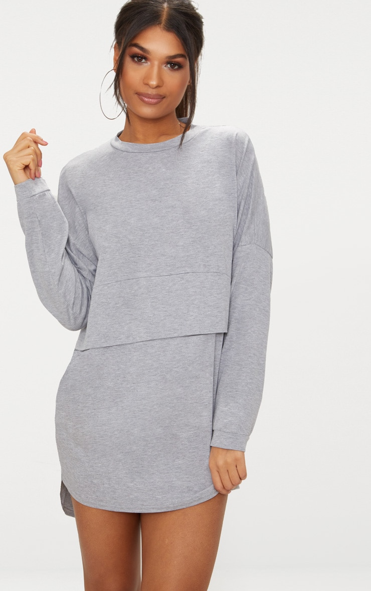 Grey Long Sleeve Jersey Layer T Shirt Dress 1