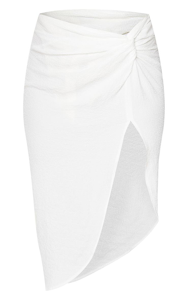 White Textured Knot Front Midi Skirt 5