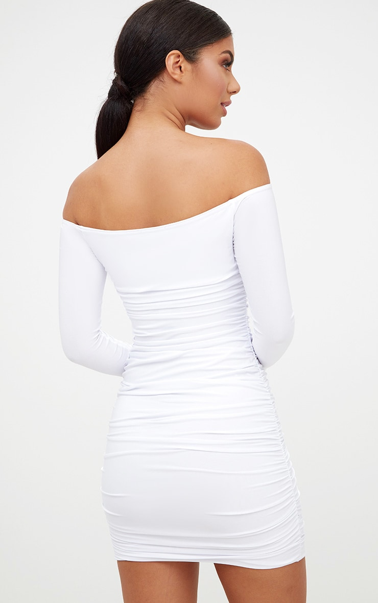 White Bardot Ruched Bodycon Dress 2